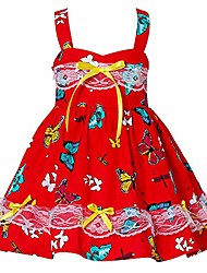 cheap -baby girls casual summer strap dress lace halter party toddler girls sunflower dress little kids sleeveless fruit printed beach dress pear boho holiday butterfly red 12 2-3 years
