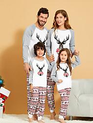 cheap -Family Look Graphic Print Long Sleeve Regular Regular Clothing Set White