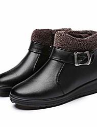 cheap -women's flat warm winter ankle boots fur lined zipper round toe platform buckle short snow booties
