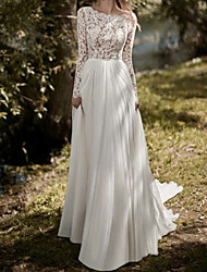 cheap -Sheath / Column Wedding Dresses Jewel Neck Sweep / Brush Train Chiffon Lace Long Sleeve Beach with 2020