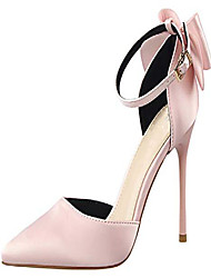 cheap -women's pointed toe ankle strap bow stiletto high heel satin wedding dress pumps pink us 7