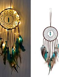 cheap -Led Boho Dream Catcher Handmade Gift Wall Hanging Decor Art Ornament Craft Fur Feather Gem Bead 13*50cm for Kids Bedroom Wedding Festival