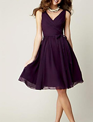 cheap -A-Line V Neck Knee Length Chiffon Bridesmaid Dress with Pleats