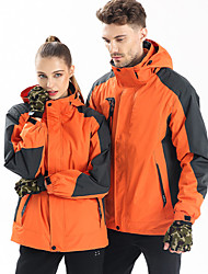 cheap -Men's Ski Jacket Ski / Snowboard Waterproof Windproof Warm Polyester Warm Top Ski Wear / Winter / Long Sleeve / Solid Colored