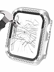 cheap -compatible with apple watch series 6 5 4 3 2 1 se case 38mm  with tempered glass screen protector, women iwatch bling crystal diamond rhinestone protector cover (silver, 38mm)