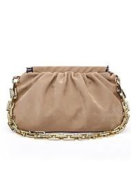 cheap -Women's Bags PU Leather Velvet Wristlet Chain Tote Daily Outdoor White Black Yellow Khaki