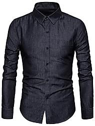 cheap -men's casual long sleeve lightweight denim shirt 100% cotton button down dress shirts light blue 2l