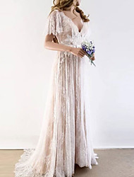 cheap -A-Line Wedding Dresses V Neck Sweep / Brush Train Tulle Short Sleeve Illusion Detail with Draping Appliques 2020