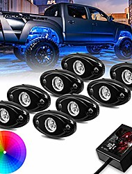 cheap -8 pods led rock lights with application control, bluetooth rgb led rock light kit for trucks atv jeep underground glow trail rig lamp, timing light function, cross-country truck flashing music mode