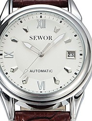 cheap -gold classic automatic wristwatch auto date calendar leather rome dial men mechanical dress watches