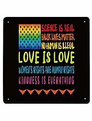 Недорогие -черная жизнь, материя, металлический знак, доброта - это все, радужный звездный флаг, знак, 12 x 12 дюймов