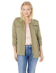 cheap -women's long sleeve zip front jacket with beading, dark sage, l