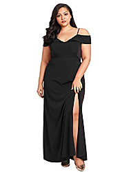 cheap -women's sexy off the shoulder spaghetti straps plus size evening party dress ball gown black 3xl