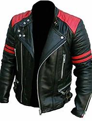 cheap -men's fashion faux leather jacket autumn winter casual street zipper moto jacket coat plus size (black,small)