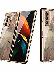 cheap -2020 new galaxy z fold 2 5g phone case full protection cover for samsung galaxy z fold 2 case with electroplating frame & anti-drop glass back cover (champagne)
