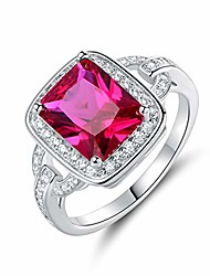 cheap -18k white gold/rose gold plated created gemstone cubic zirconia statement ring (ruby, 10)