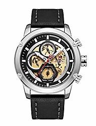 cheap -luxury waterproof 24 hour date quartz fashion leather sport wrist watch (silver)
