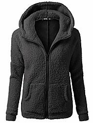 cheap -womens hooded sweatshirt coat, warm cotton jacket winter fleece fuzzy faux zipper outwear plus size (black, 4x-large)