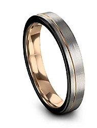 cheap -tungsten wedding band ring 4mm for men women 18k rose gold plated flat cut off set line black grey brushed polished size 5.5
