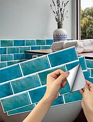 cheap -Imitation Retro Ceramic Tile Kitchen Sticker Waterproof and Oilproof Peacock Blue Flake Self-adhesive Decorative Wall Sticker 15cm*30cm*6pcs