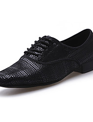 cheap -Men's Dance Shoes Modern Shoes Heel Thick Heel Black Lace-up Adults