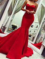 cheap -Mermaid / Trumpet Minimalist Sexy Wedding Guest Formal Evening Valentine's Day Dress Strapless Sleeveless Court Train Stretch Fabric with Pleats 2021