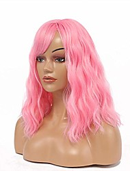 cheap -cosplay pink wigs curly wavy 16'' synthetic women's wig pure pastel wig for girl costume halloween wigs