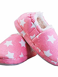 cheap -girls slippers warm cozy comfy soft plush lining slipper with beautiful pink stars non-slip hard sole bedroom house shoes for toddler little kids girls pink size 13