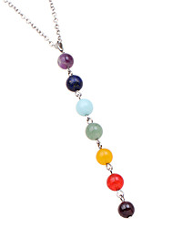 cheap -7 chakra lava rock stone necklace  beads yoga reiki healing energy balancing necklace