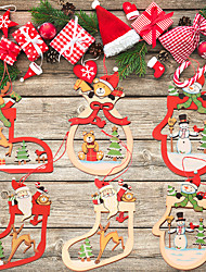 cheap -Christmas Toys Christmas Decorations Christmas Tree Ornaments Santa Claus Reindeer Christmas Stockings Party Favor For Living Room Bedroom Wooden 14 pcs Kids Adults 11*7cm Christmas Party Favors