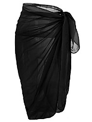 cheap -womens swimwear chiffon cover up solid color beach sarong swimsuit wrap,black