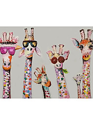 cheap -Nursery Oil Painting Handmade Hand Painted Wall Art Cartoon Colorful Giraffe Animal Home Decoration Décor Rolled Canvas No Frame Unstretched