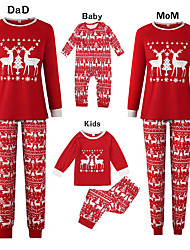 cheap -Family Look Basic Graphic Print Long Sleeve Regular Clothing Set Red