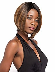cheap -classic lace front short wig 3 tones colored highlight ombre blonde wigs for women daily use hand tied medium brown swiss lace pre plucked - 10 inch