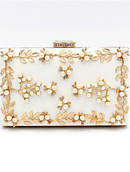 cheap -Women's Bags Polyester Alloy Evening Bag Crystals Flower Rhinestone Flower Fashion Wedding Bags Wedding Party White Black Red Gold