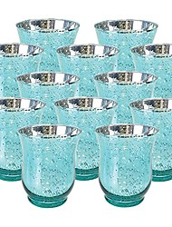 cheap -mercury glass hurricane votive candle holder 3.5-inch (12pcs, speckled aqua) - mercury glass votive tealight candle holders for weddings, parties and home décor