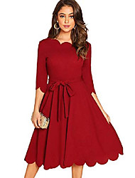 cheap -women's plus size scallop trim knot belted solid flare party dress burgundy x-large plus