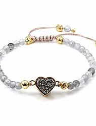cheap -womens girls 4mm cloudy quartz beads chakra healing crystal bracelet gold lava rock stone adjustable bracelets with heart shape druzy charm
