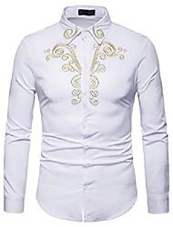 cheap -mens hipster golden embroidered mandarin collar slim fit long sleeve casual dress shirts