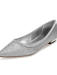 cheap -Women's Wedding Shoes Flat Heel Pointed Toe Wedding Flats Classic Sweet Wedding Party & Evening Gleit Rhinestone Solid Colored Black Champagne Ivory
