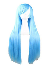 """cheap -31.5"""" long straight wig with bangs costume party wigs (light blue)"""