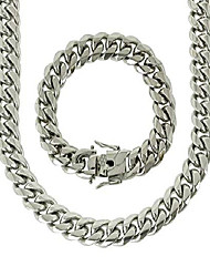 cheap -solid silver finish stainless steel 16mm thick miami cuban link chain box clasp lock (chain 24'' & bracelet 8'')