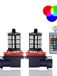 cheap -2 Pcs 5050 27SMD 3 Core LED RGB Remote Control Car Headlight DRL Flash Fog Light Bulb 9005 9006 H7 H11 Lamp