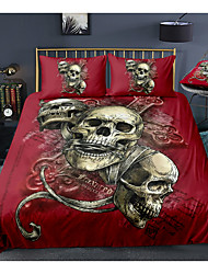 cheap -Skull Series Red Color 3-Piece Duvet Cover Set Hotel Bedding Sets Comforter Cover with Soft Lightweight Microfiber For Room Decoration(Include 1 Duvet Cover and 1or 2 Pillowcases)
