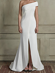 cheap -Mermaid / Trumpet Wedding Dresses One Shoulder Court Train Satin Sleeveless Simple with Split Front 2021