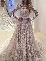 cheap -A-Line Wedding Dresses Jewel Neck Watteau Train Lace Long Sleeve Formal Beach with Sashes / Ribbons Appliques 2020