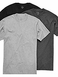 cheap -3-pack men's heavy weight 100% cotton crew-neck t-shirt black/grey (medium)