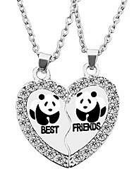 cheap -bff necklace for 2, best friend necklaces, split panda, dolphin, penguin valentine heart rhinestone friendship necklaces engraved pendant-panda