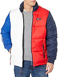 cheap -men's thd colorblock puffer, bright white/apple red, x-small