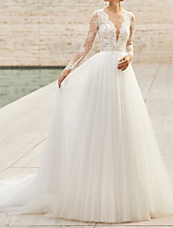 cheap -Sheath / Column Wedding Dresses Jewel Neck Chapel Train Lace Tulle Long Sleeve Country with 2021